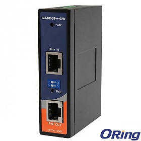 ORing INJ-101GT++-60W, Industrial Gigabit High Power Injector, 1x10/1000 RJ-45 PoE + 1x10/1000 RJ-45