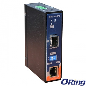 IGMC-111GPB, Industrial mini Gigabit Ethernet to fiber media converter, DIN, 1x 100/1000TX (RJ-45) + 1x 100/1000FX (SFP)