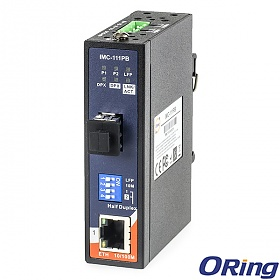 IMC-111PB, Industrial mini Ethernet to fiber media converter, DIN, 2x 10/100TX (RJ-45) + 1x 100FX (SFP) LFP