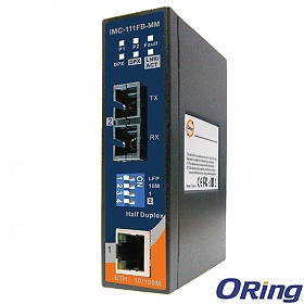 IMC-111FB-MM-SC, Industrial mini Ethernet to fiber media converter, DIN, 1x 10/100Base-TX + 1x 100Base-FX fiber