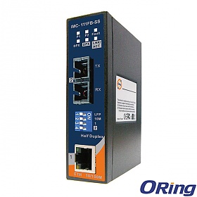 IMC-111FB-SS-SC, Industrial mini Ethernet to fiber media converter, DIN, 1x 10/100Base-TX + 1x 100Base-FX fiber