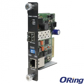 RGMC-111GPB, Industrial Rack mount card type Ethernet to fiber media converter, 1x 100/1000TX (RJ-45) + 1x 100/1000FX (SFP)