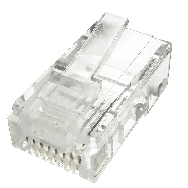 Modular male connector, 8P8C (RJ-45), round, solid, cat. 5e