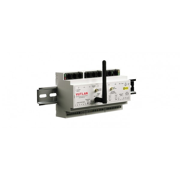 DIN Monitoring unit; 6x analog; 1 x CAN; x4 digital inputs; RS-485 / Modbus RTU with PoE extension (Vutlan VT336 PoE)