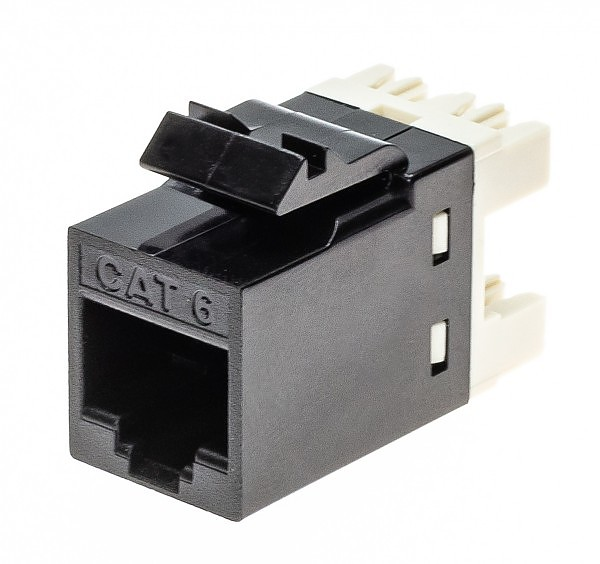 Keystone connector 8p8c, unshielded, cat. 6, 180°, black