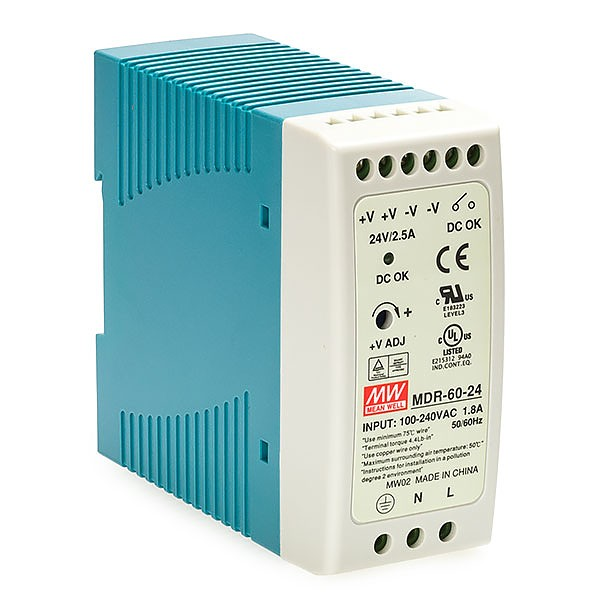 MDR-60-24, Power supply 60W 24VDC, mini, DIN TS35 (Mean Well MDR-60-24)