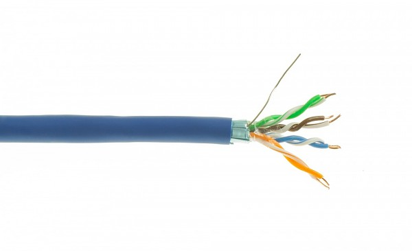 Cable F/UTP, cat.5E, blue, LSOH, 4x2x24 AWG, 305m, solid (Wave Cables)
