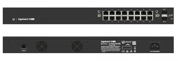 "Managed switch, 16x 10/1000 RJ-45, 2x 100/1000 SFP, PoE+, 19"" (Ubiquiti ES-16-150W)"